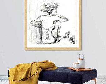 Elegant Female figure in sensual underclothing,Lady wearing lingerie life drawing, Black & White art print dancer, feeling tired, resting