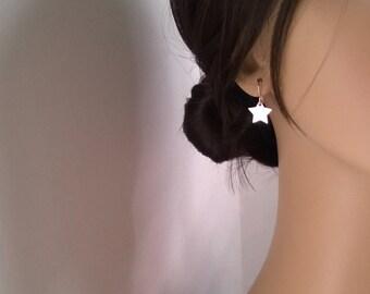 sterling silver star earrings; star dangle earrings; star drop earrings; simple and elegant everyday earrings
