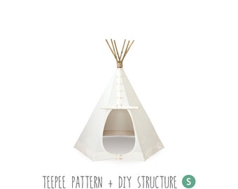 Teepee, Sewing Pattern of the Tent and Structure, Tutorial, DIY. SMALL Size. How to Make a Real Indian Tepee, Ebook, Tipi, Kids playroom