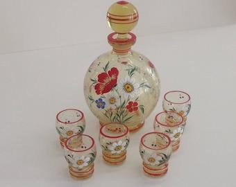 Schnapps liqueur set handpainted enamel painting