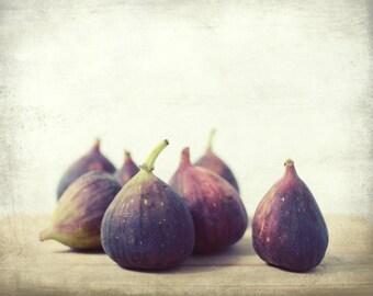 "Food Still Life - Fig Photograph - Rustic Kitchen Decor - Plum Mauve Purple - Fruit Photography - Purple Wall Art  ""Second Harvest"""