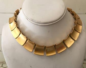Vintage Anne Klein Brushed  Gold Toned Cleopatra Necklace Stamped
