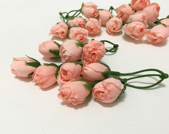 12 red rose buds artificial flowers silk flowers flower crown 24 dry look peach rose buds artificial flowers silk flowers flower crown mightylinksfo Image collections