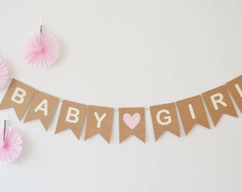 Baby Girl Baby Shower Decoration, Baby Shower Bunting, Pink Heart, New Baby Banner, Party Decoration, It's a Girl