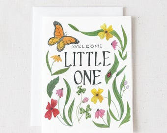 Welcome Little One / Watercolor Greeting Card / Blank Greeting Card