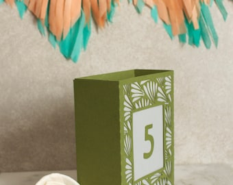 Fern Wedding Table Number Luminary, Art Deco Table Numbers, Table Markers, Luminaries, Paper Luminaries / Laser Cut Table Numbers