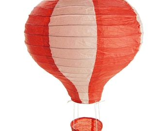 Striped Hot Air Balloon Paper Hanging Decor, Red, 15-Inch
