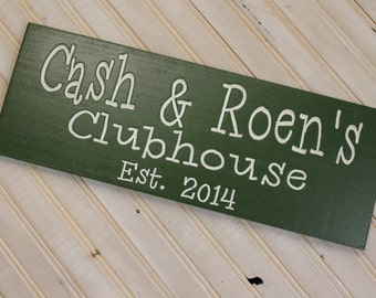 Tree Fort Clubhouse Personalized custom Sign Established Plaque Sign Wall Sign Carved Engraved christmas gift or birthday for any kid