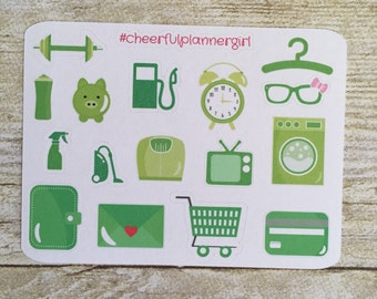 This week in Green Icon Small Sampler Planner Stickers Set s13