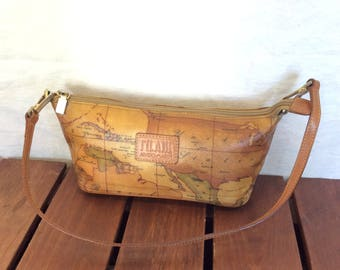 Vintage world map etsy alviero martini authentic world map tan canvas and tan leather trim shoulder bag made in italy gumiabroncs Choice Image