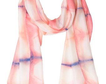 Geometric pink silk scarf. Long silk scarf or stole hand dyed with a pink and white geometric design. A silk anniversary gift for her.