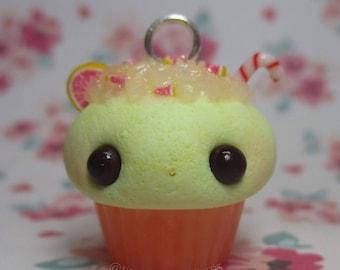 Kawaii grape fruit drink cupcake polymer clay charm