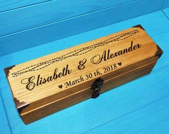 Natural Oak+Wedding Wine Box. Wine box ceremony. first fight box. wedding wine ceremony. wedding gift.anniversary gift. shower gift
