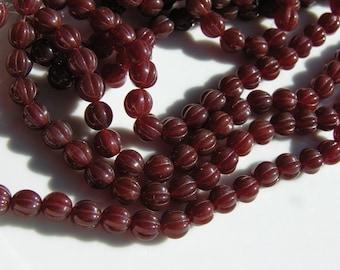 Dark Caramel Melon 8mm Rounds Czech Glass Beads  25