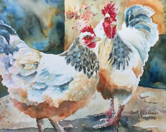 Chickens, PRINT of original watercolor, rooster and hen, farm, watercolor chickens, pair of chickens