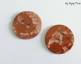 large buttons in pink white and terracotta (2boutons batch)