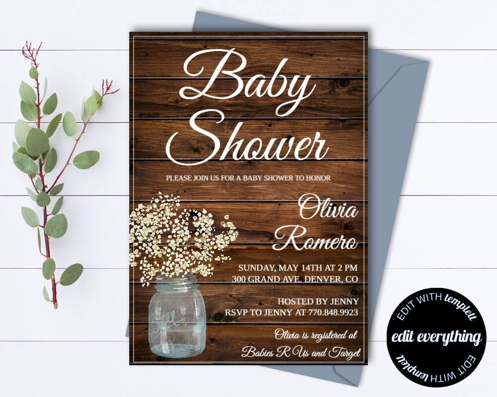 Rustic Baby Shower Invitation Template Girl Baby Shower Invite