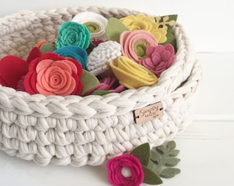 Crochet Basket with Handles / Crochet Storage Tray / Nursery Decor / Craft Room Decor / Living Room Decor / Rustic Home Decor / Dorm Decor