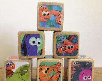 Finding Nemo Blocks // Childrens Book Blocks // Natural Wood Toy