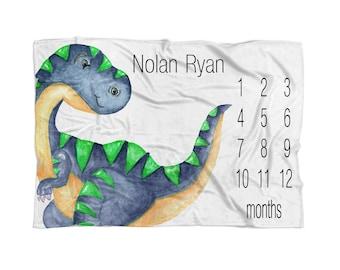 Milestone Blanket Dinosaur Baby Blanket Dinosaur Baby Bedding Dinosaur Photo Prop Receiving Blanket Personalized For Baby Blanket Gift Mom