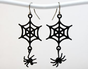 3D PRINTED Spider Web Earrings