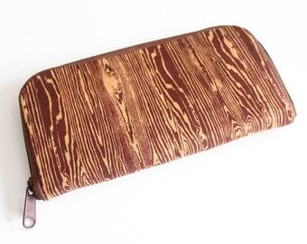 Womens zip around wallet / Checkbook Wallet / Cell Phone Wallet / Passport Wallet / Credit Card Wallet / Accordian wallet / Brown Woodgrain