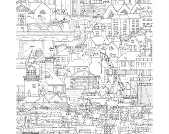 Galway, Ireland. Print | Poster of its architectonic landscape (ink drawing)