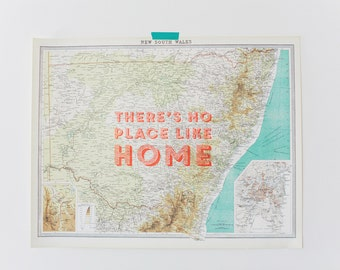 """Vintage Map of New South Wales """"There's No Place Like Home"""""""