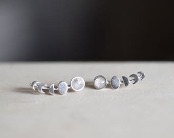 Moonstone Moon Phases Sterling Silver Ear Climbers