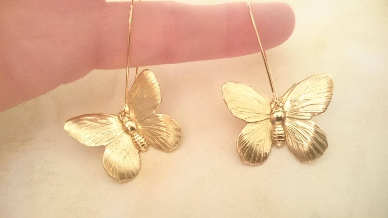 Butterfly Earrings Dangle Butterfly Earrings Gold Butterfly