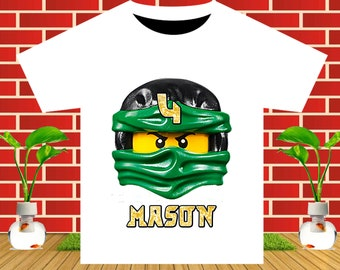 Ninjago, Ninjago Iron On Transfer, Ninjago Birthday Shirt DIY, Ninjago Party, Boy Birthday Shirt, Personalize Name, Digital File
