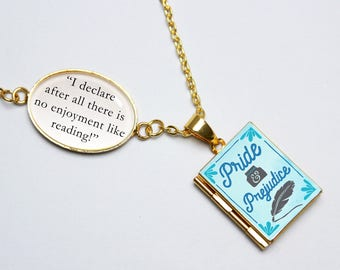 Pride and Prejudice Book Quote and Locket Charm. Austen Austen Book Locket. No Enjoyment Like Reading Book Quote Jewellery. Literary Gift
