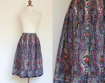 vintage 1970s cotton paisley skirt / 70s Leo Narducci full cotton skirt / S