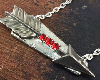 Arrow Necklace with Red Rhinestones, Soldered Jewelry, Bar Style Necklace, Follow Your Arrow, Silverware Jewelry