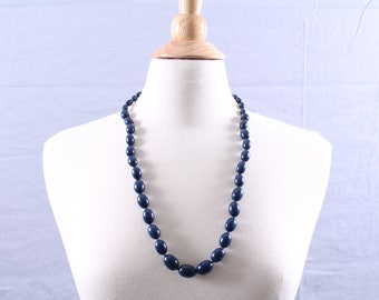 Vintage Navy Blue Beaded Necklace by Trifari