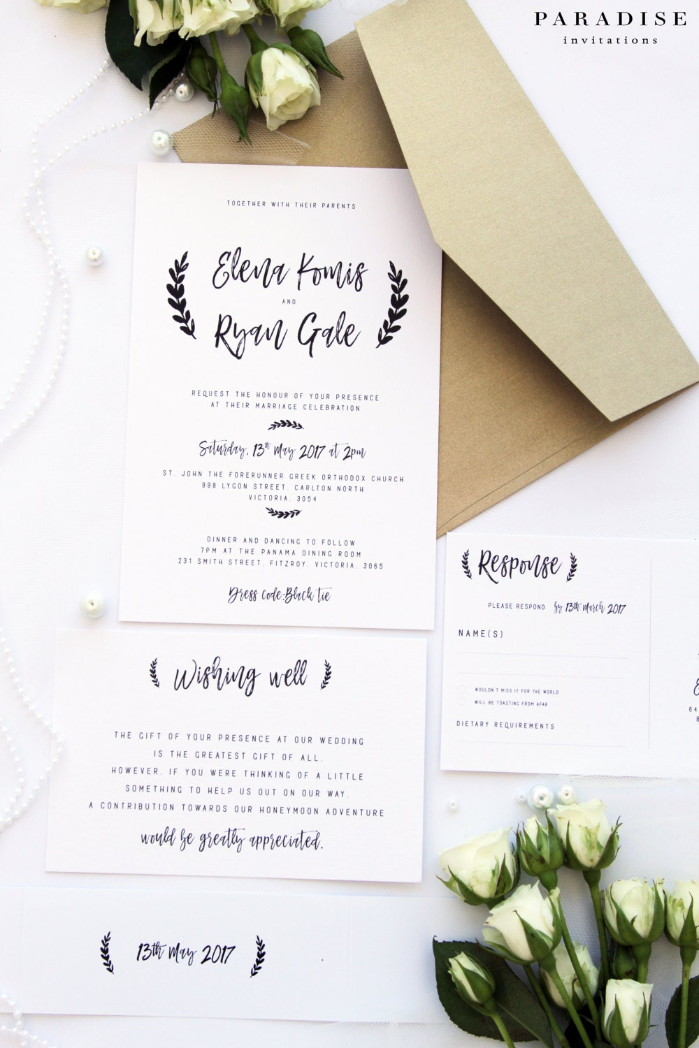 Gold and White Wedding Invitation Sets Custom Colours and