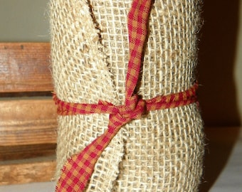 BURLAP RIBBON 6 Inch Wide Rolled Edged Burlap Ribbon, 5 Yards, 15 Feet