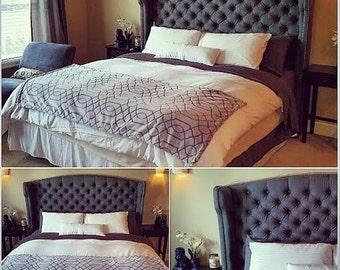 wingback etsy. Black Bedroom Furniture Sets. Home Design Ideas