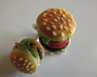 Juicy Cheeseburger Cufflinks, Accessories For Him,Fake food Accessories, Hand Sculpted, Handmade, Junk Food, Cufflinks, For Him