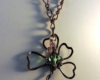 Wirewrapped Handcrafted Copper Shamrock Pendant Necklace with Czech Bead Accents