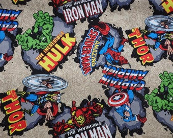 Avengers, Captain America, Incredible Hulk, Thor, Iron Man, Marvel Comics Fabric, Marvel Comic Burst, Quilting Cotton, By the Half Yard