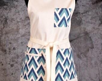 Khaki Full Apron with Flame Stitch Pockets