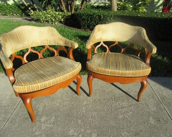 MAGICAL Mid MOROCCANS / Pair Of Louis XV Mid Century Moroccan Inspired French Barrel Back Chairs / Incredible From Every Angle