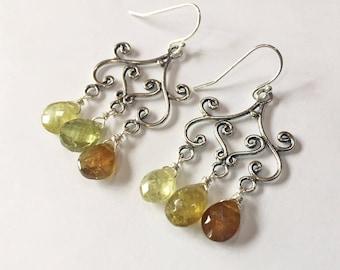 Catonia Hessonite Garnet Chandeliers, One of a kind, gemstone earrings, garnet earrings