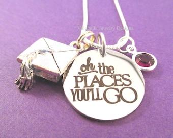 Graduierung Halskette Oh die Orte, die Sie gehen sagen, inspirierende individuelle Halskette Geburtsstein Graduierung High School College absolvieren Geschenk