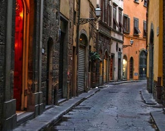Florence, ,Tuscany, Italy Photography, cobblestone street, Rustic, medieval ,Wall Decor, wall Art, Europe