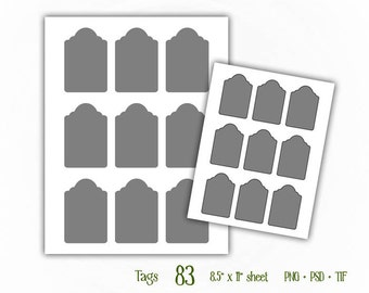 Tags - Digital Collage Sheet Layered Template - (T083)
