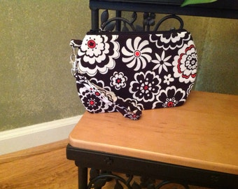 Black, White, and Red Floral ~ Kendall Wristlet Free Shipping in the US