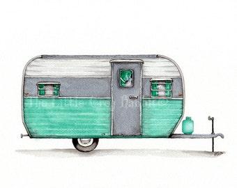 Vintage Camper, Original Watercolor, Travel Art, Seafoam Green Decor, Retro Art, Kids Room Decor, Travel Trailer, RV Art, Camper Painting