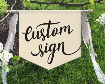 Wedding signs, Flower girl sign, Ring bearer sign, Ring bearer banner, Custom wedding sign, Here comes the bride, Wedding signage, Banner